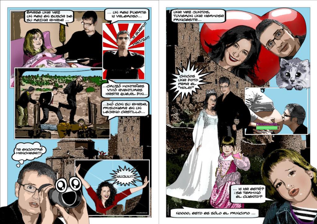 Cómic historia pareja boda
