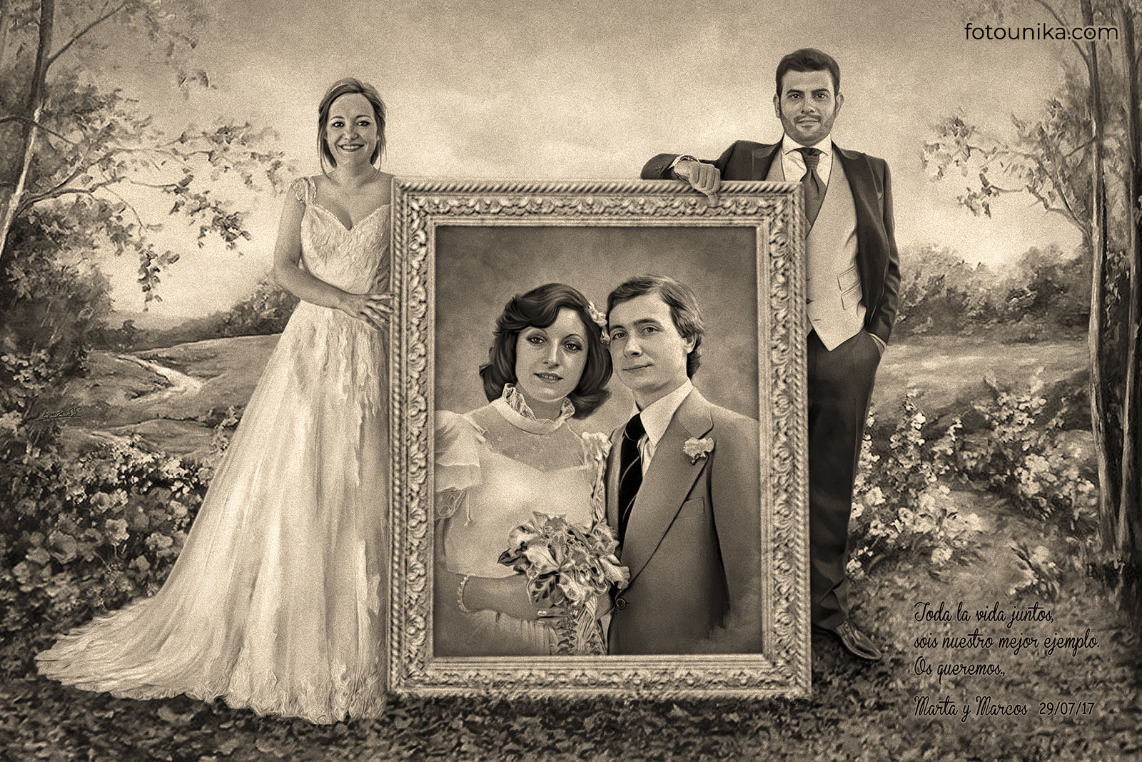 Cuadro boda padres recuerdo