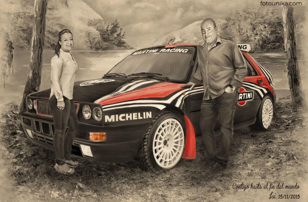 Cuadro carboncillo coche rally pareja