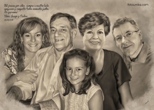 Cuadro carboncillo familia