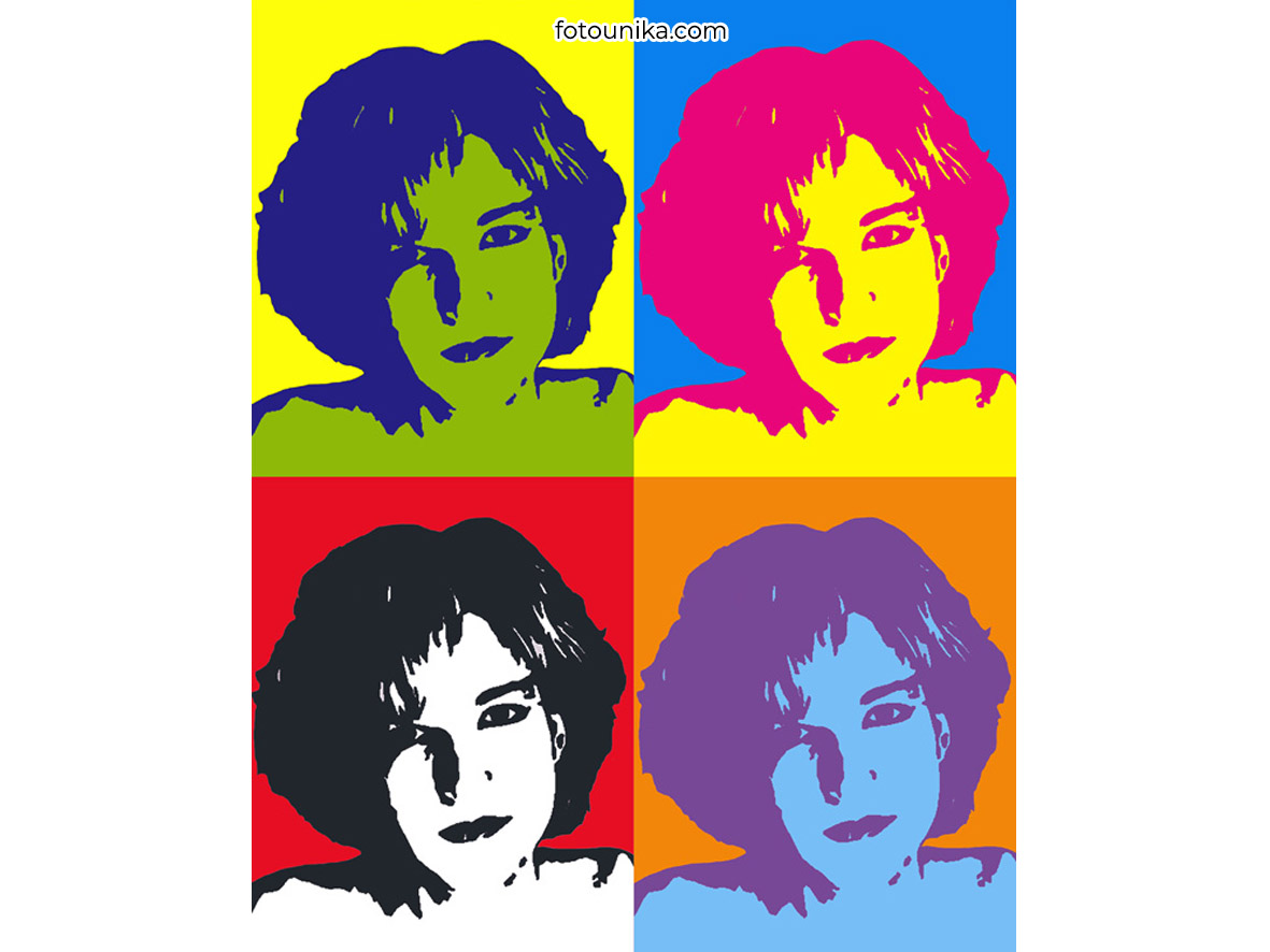 POP ART WARHOL CHICA 4 COLORES